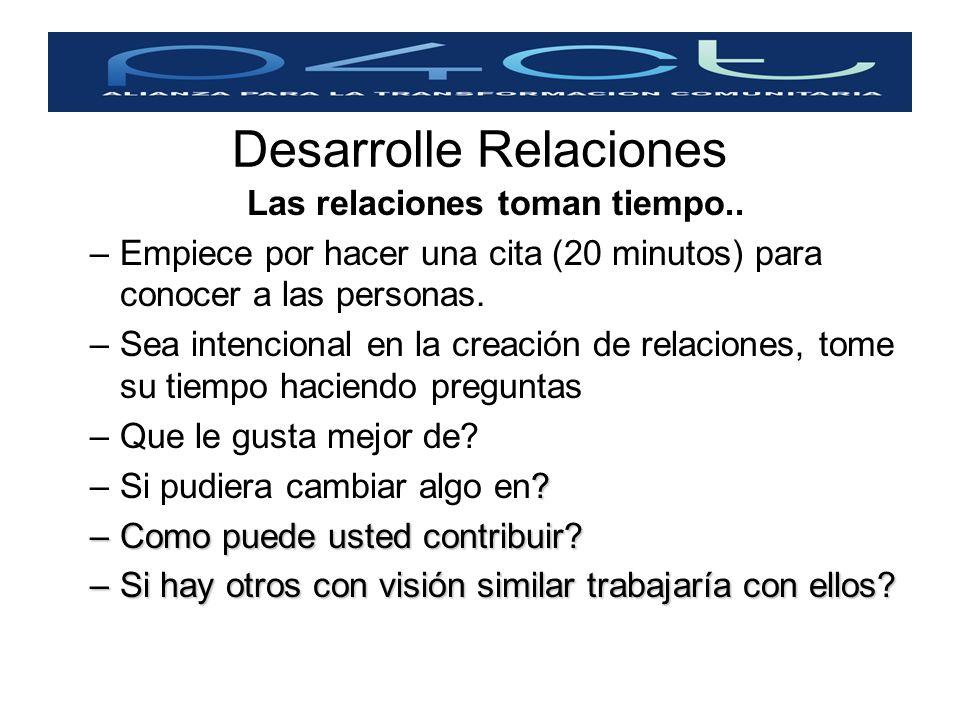 Desarrolle Relaciones Las relaciones toman tiempo.. –Empiece por hacer una cita (20 minutos) para conocer a las personas. –Sea intencional en la creac