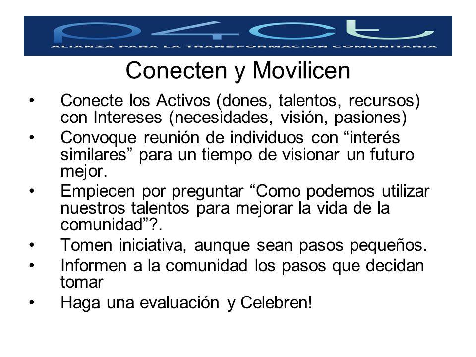 Conecten y Movilicen Conecte los Activos (dones, talentos, recursos) con Intereses (necesidades, visión, pasiones) Convoque reunión de individuos con