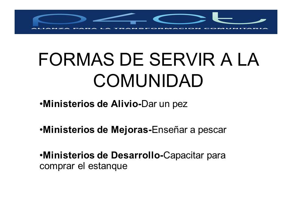 FORMAS DE SERVIR A LA COMUNIDAD Ministerios de Alivio-Dar un pez Ministerios de Mejoras-Enseñar a pescar Ministerios de Desarrollo-Capacitar para comp