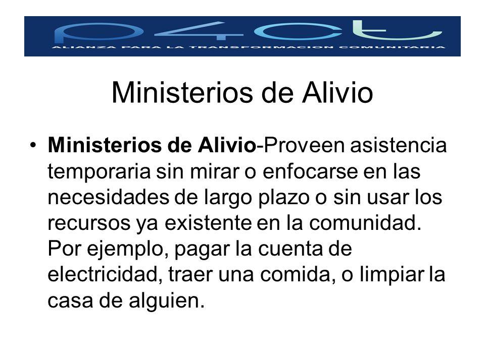 Ministerios de Alivio Ministerios de Alivio-Proveen asistencia temporaria sin mirar o enfocarse en las necesidades de largo plazo o sin usar los recur