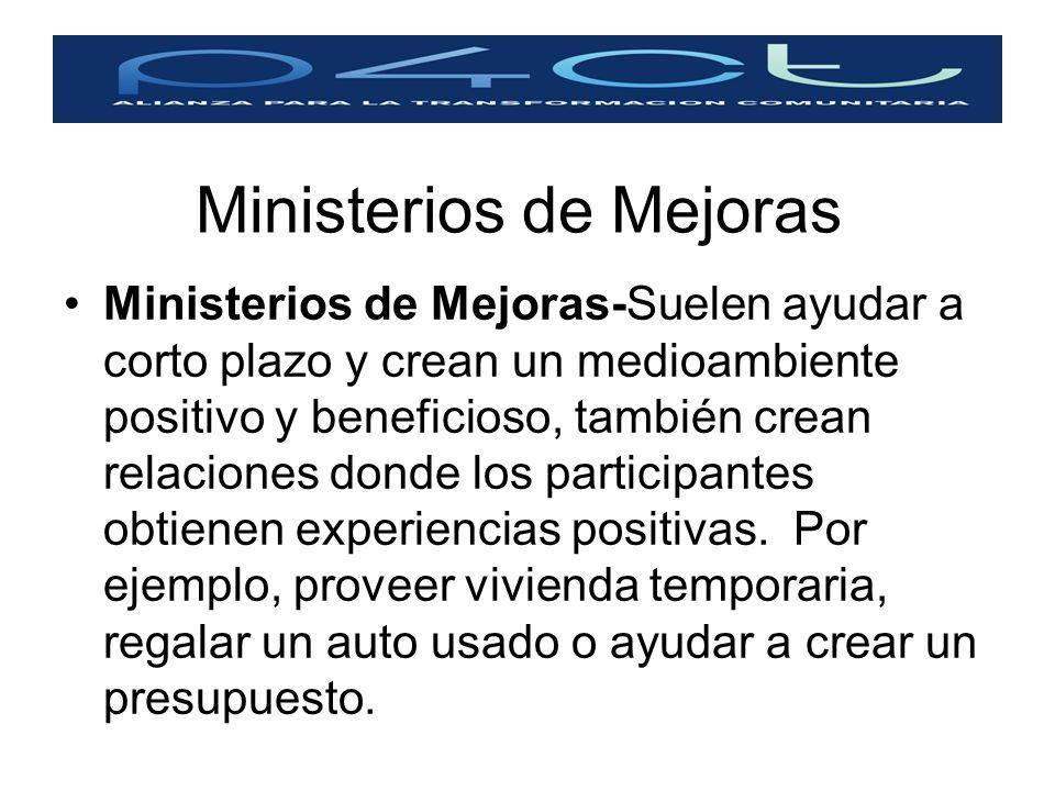 Ministerios de Mejoras Ministerios de Mejoras-Suelen ayudar a corto plazo y crean un medioambiente positivo y beneficioso, también crean relaciones do