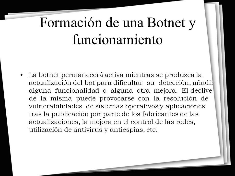 Formación de una Botnet y funcionamiento La botnet permanecerá activa mientras se produzca la actualización del bot para dificultar su detección, añadir alguna funcionalidad o alguna otra mejora.