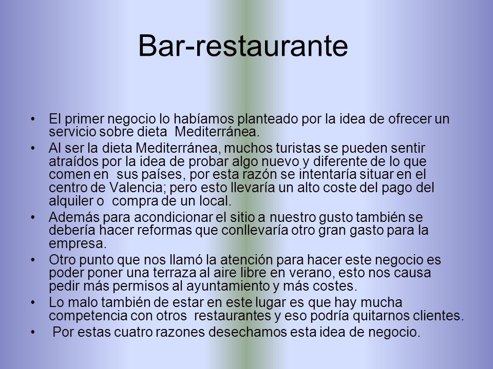 Bar-restaurante de comida mediterránea en el centro de Valencia. Rutas turísticas en bicicleta. Academia de repaso e idiomas (opción elegida).