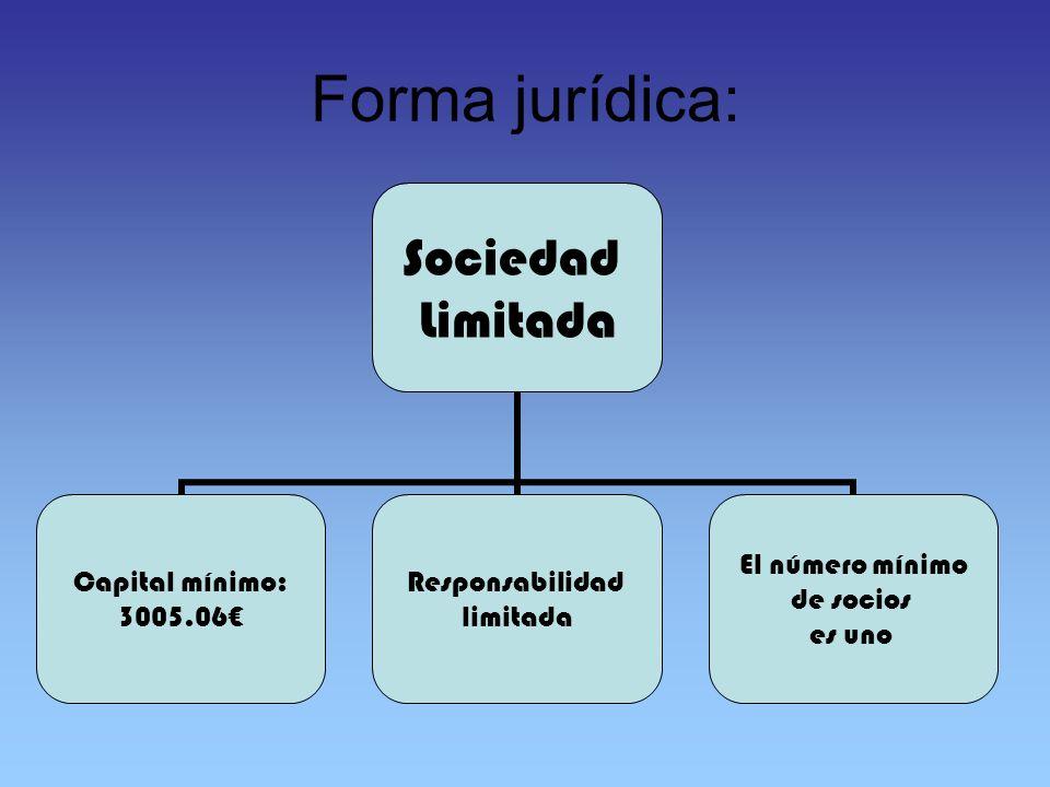 Forma jurídica: Sociedad Limitada Capital mínimo: 3005.06 Responsabilidad limitada El número mínimo de socios es uno