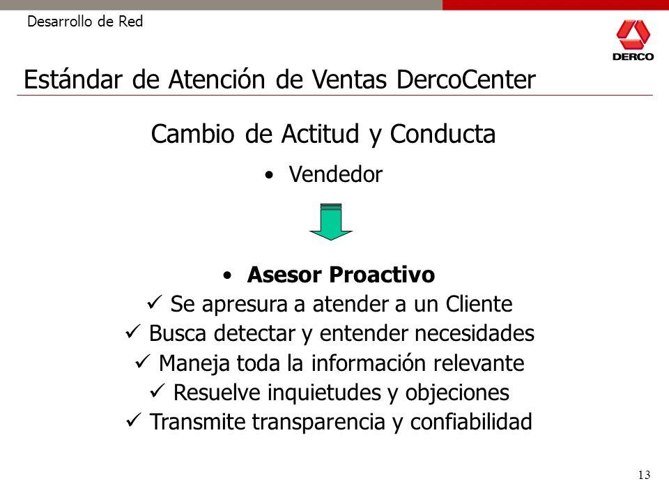 13 Desarrollo de Red Cambio de Actitud y Conducta Asesor Proactivo Se apresura a atender a un Cliente Busca detectar y entender necesidades Maneja tod