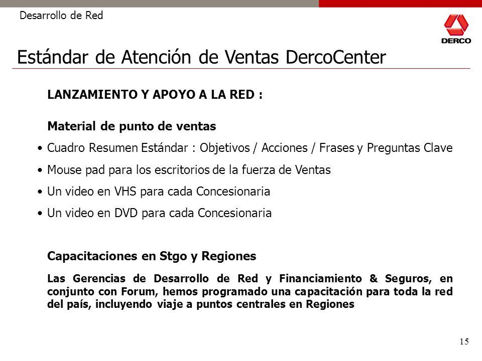 15 Desarrollo de Red Estándar de Atención de Ventas DercoCenter LANZAMIENTO Y APOYO A LA RED : Material de punto de ventas Cuadro Resumen Estándar : O