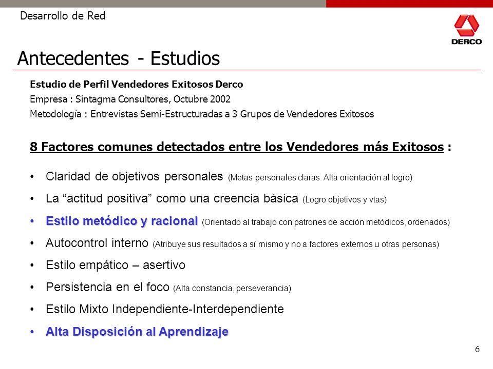 6 Desarrollo de Red Estudio de Perfil Vendedores Exitosos Derco Empresa : Sintagma Consultores, Octubre 2002 Metodología : Entrevistas Semi-Estructura