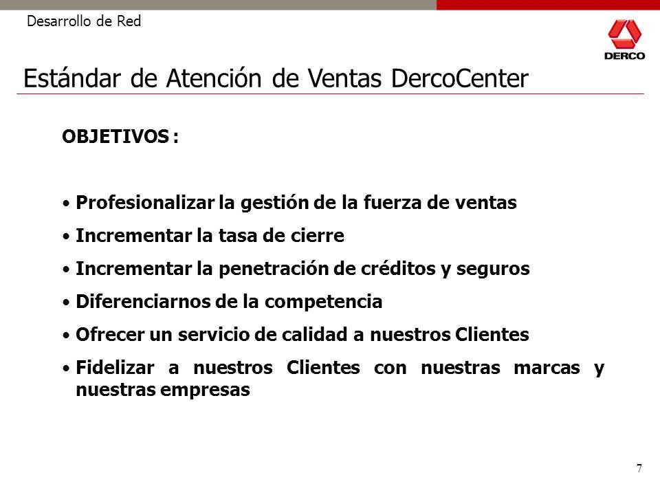 7 Estándar de Atención de Ventas DercoCenter Desarrollo de Red OBJETIVOS : Profesionalizar la gestión de la fuerza de ventas Incrementar la tasa de ci