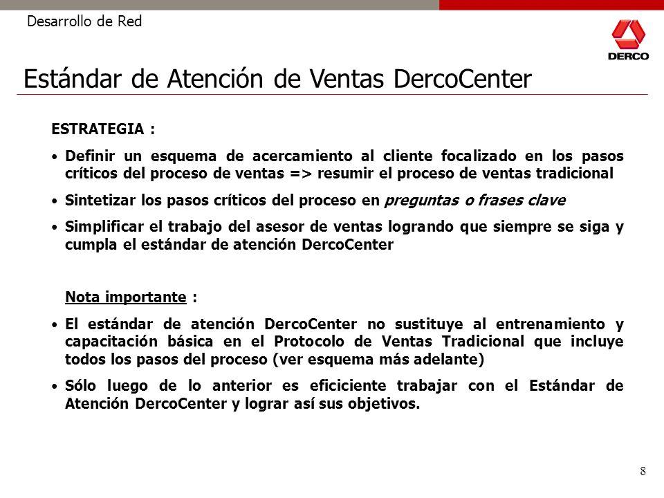 8 Desarrollo de Red ESTRATEGIA : Definir un esquema de acercamiento al cliente focalizado en los pasos críticos del proceso de ventas => resumir el pr