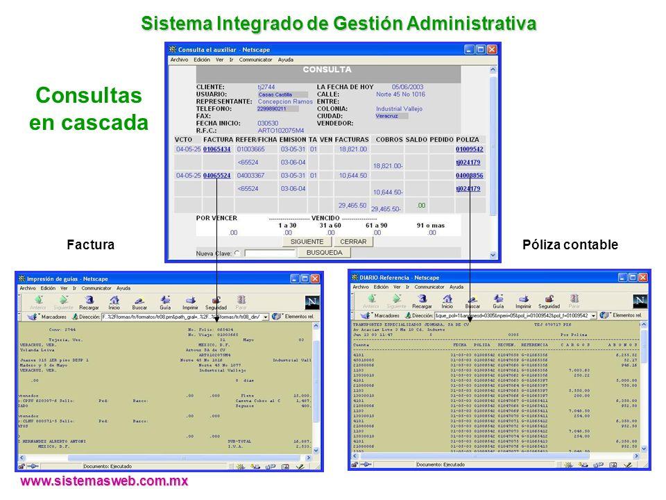 Consultas en cascada FacturaPóliza contable www.sistemasweb.com.mx Sistema Integrado de Gestión Administrativa