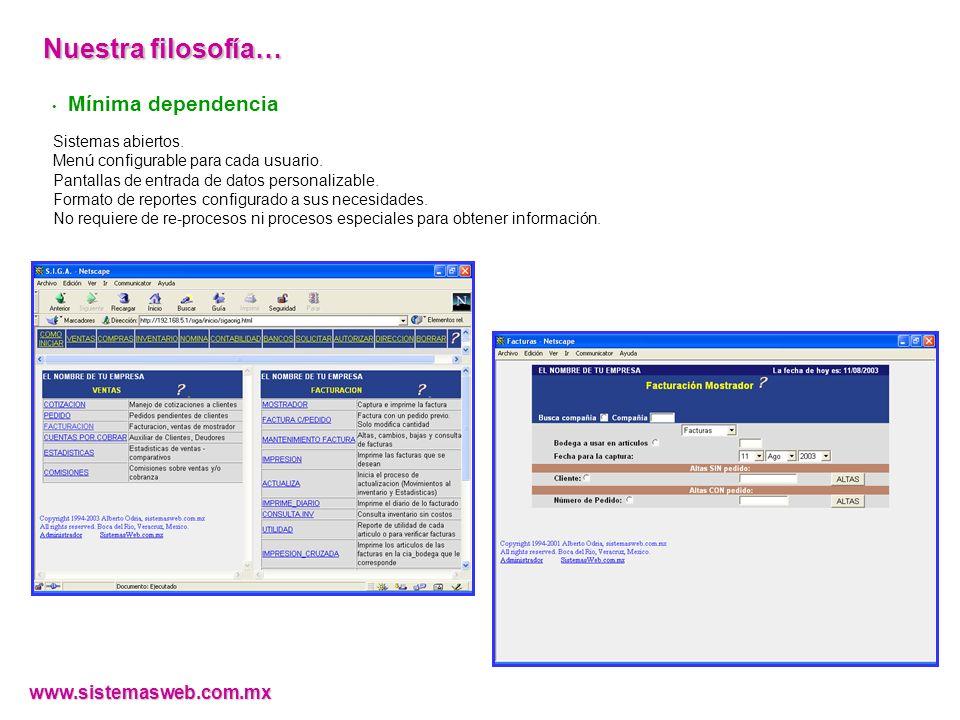 Mínima dependencia Sistemas abiertos. Menú configurable para cada usuario. Pantallas de entrada de datos personalizable. Formato de reportes configura