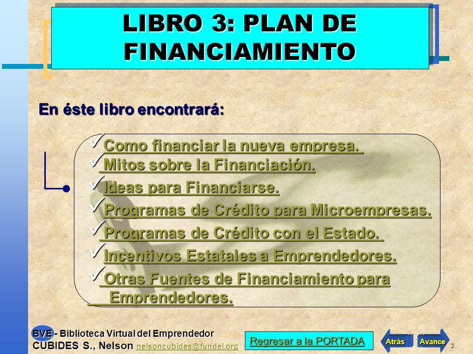 2 VER INDICE LIBRO 3 VER INDICE LIBRO 3 Atrás Avance BVE - Biblioteca Virtual del Emprendedor CUBIDES S., Nelson nelsoncubides@fundel.org nelsoncubide