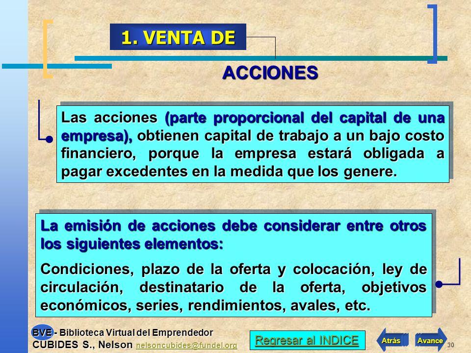 29 Cuando la empresa ya está constituida y se requiere financiamiento también se puede recurrir a: 1. Venta de acciones, si es una Sociedad Anónima. 2