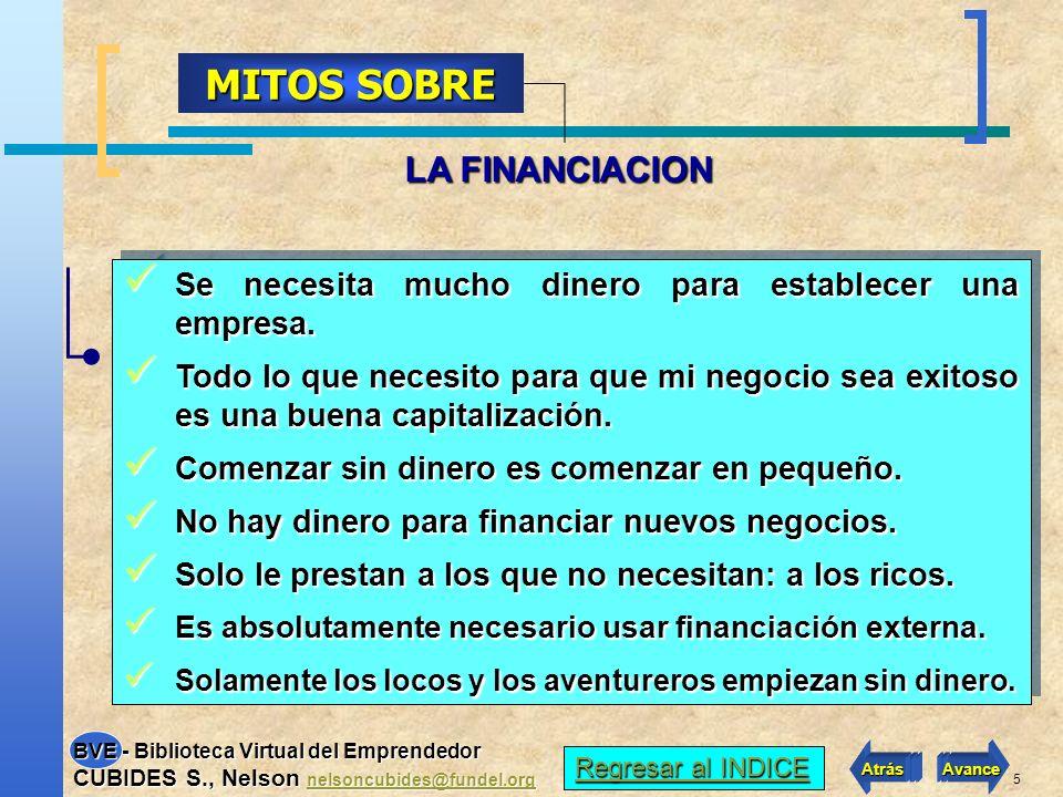 5 LA FINANCIACION MITOS SOBRE Se necesita mucho dinero para establecer una empresa.