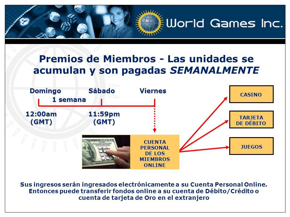 Premios de Miembros - Las unidades se acumulan y son pagadas SEMANALMENTE Domingo Sábado Viernes 1 semana CASINO TARJETA DE DÉBITO 12:00am (GMT) 11:59pm (GMT) JUEGOS CUENTA PERSONAL DE LOS MIEMBROS ONLINE Sus ingresos serán ingresados electrónicamente a su Cuenta Personal Online.