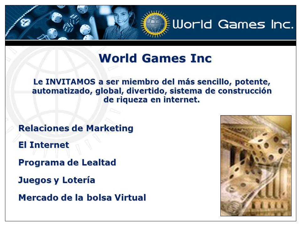 World Games Inc Le INVITAMOS a ser miembro del más sencillo, potente, automatizado, global, divertido, sistema de construcción de riqueza en internet.