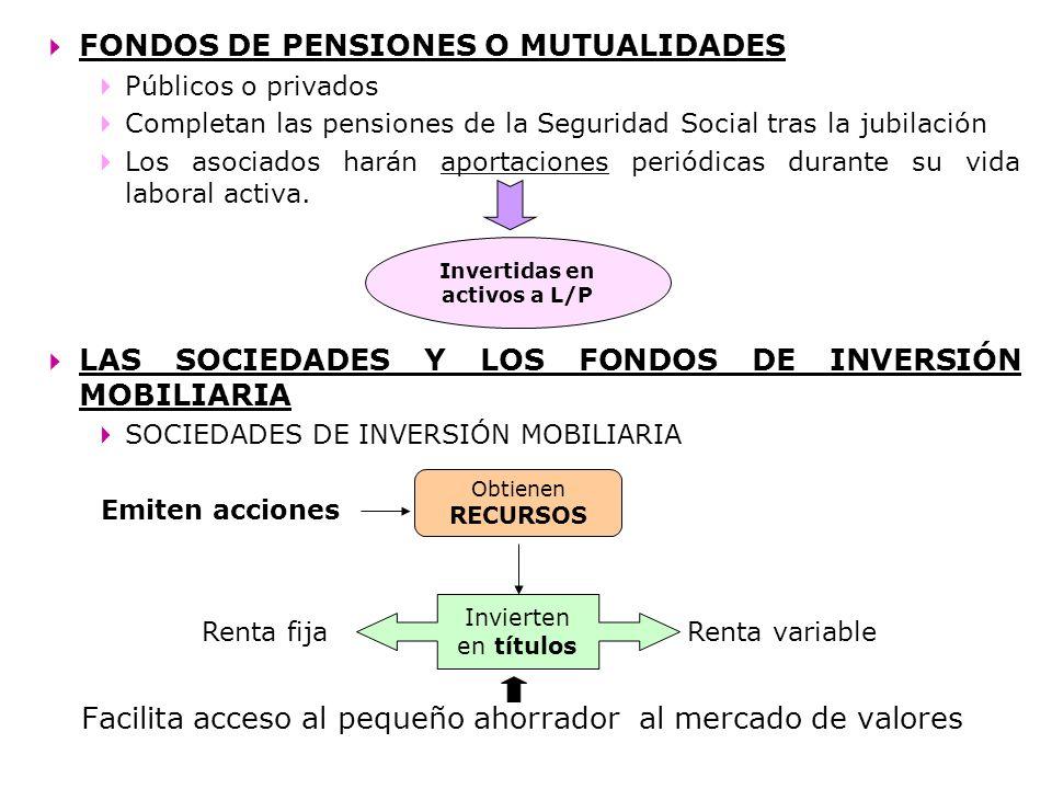 FONDOS DE PENSIONES O MUTUALIDADES Públicos o privados Completan las pensiones de la Seguridad Social tras la jubilación Los asociados harán aportacio
