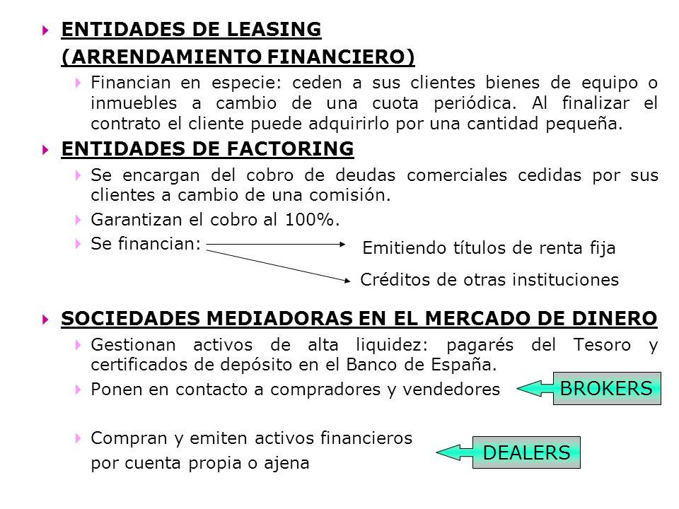 ENTIDADES DE LEASING (ARRENDAMIENTO FINANCIERO) Financian en especie: ceden a sus clientes bienes de equipo o inmuebles a cambio de una cuota periódic