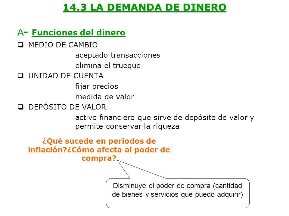 14.3 LA DEMANDA DE DINERO A - Funciones del dinero MEDIO DE CAMBIO aceptado transacciones elimina el trueque UNIDAD DE CUENTA fijar precios medida de