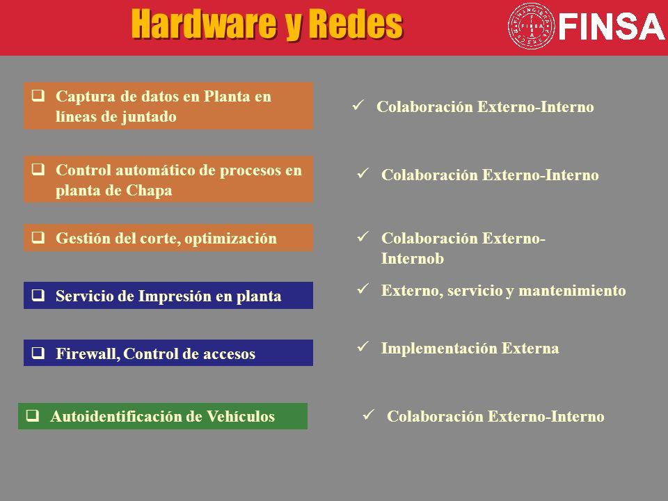 Servicio de Impresión en planta Hardware y Redes Externo, servicio y mantenimiento Implementación Externa Colaboración Externo-Interno Firewall, Control de accesos Captura de datos en Planta en líneas de juntado Control automático de procesos en planta de Chapa Colaboración Externo-Interno Autoidentificación de Vehículos Colaboración Externo-Interno Gestión del corte, optimización Colaboración Externo- Internob