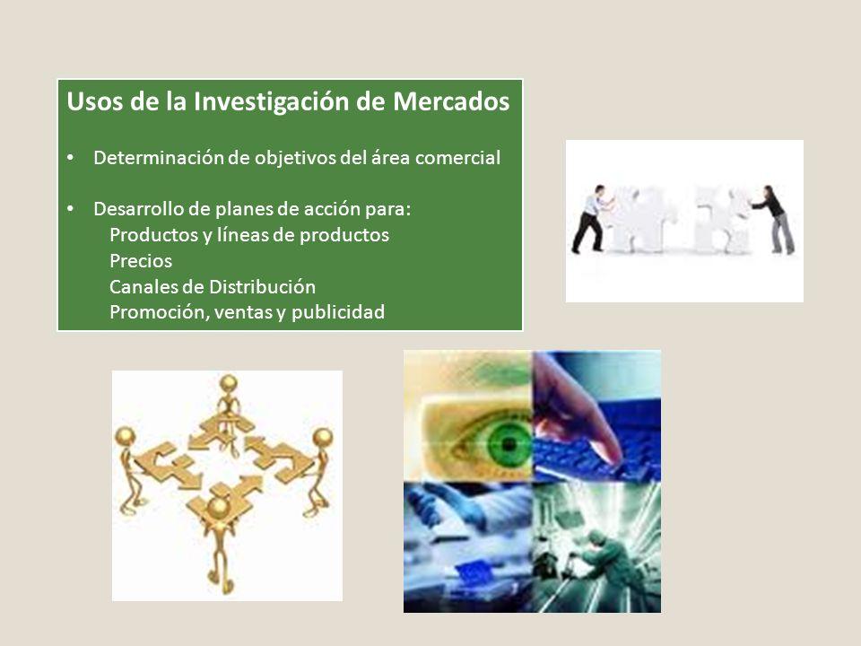 Usos de la Investigación de Mercados Determinación de objetivos del área comercial Desarrollo de planes de acción para: Productos y líneas de producto
