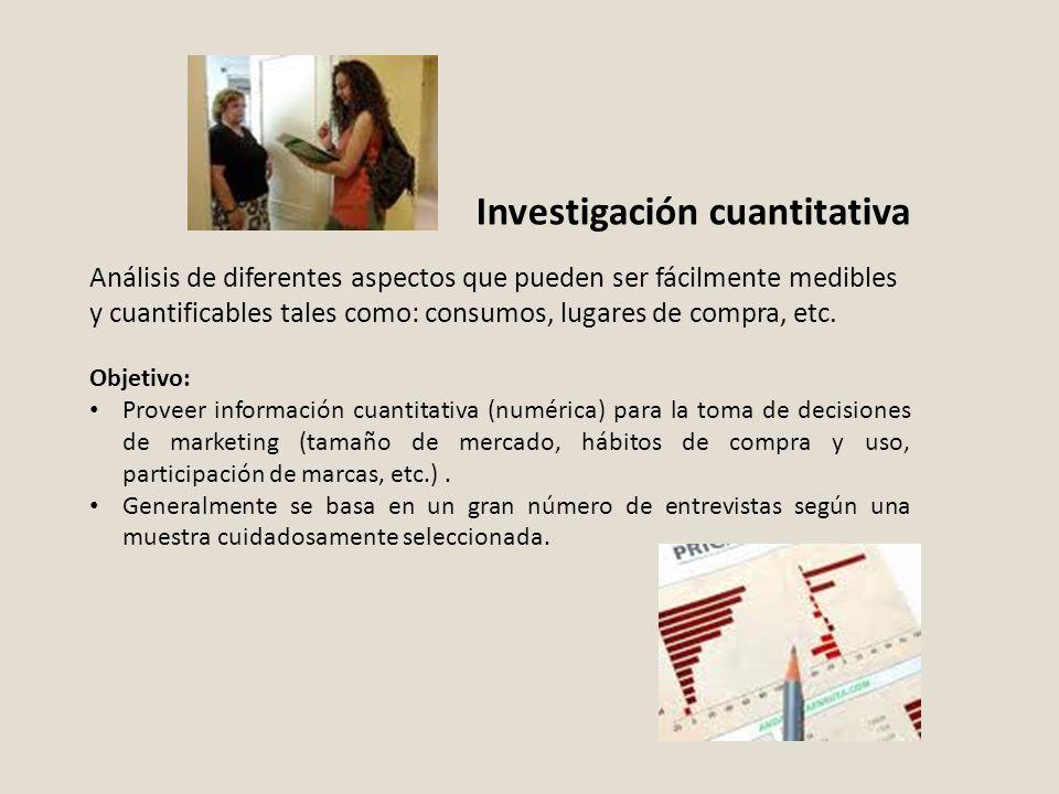 Investigación cuantitativa Análisis de diferentes aspectos que pueden ser fácilmente medibles y cuantificables tales como: consumos, lugares de compra