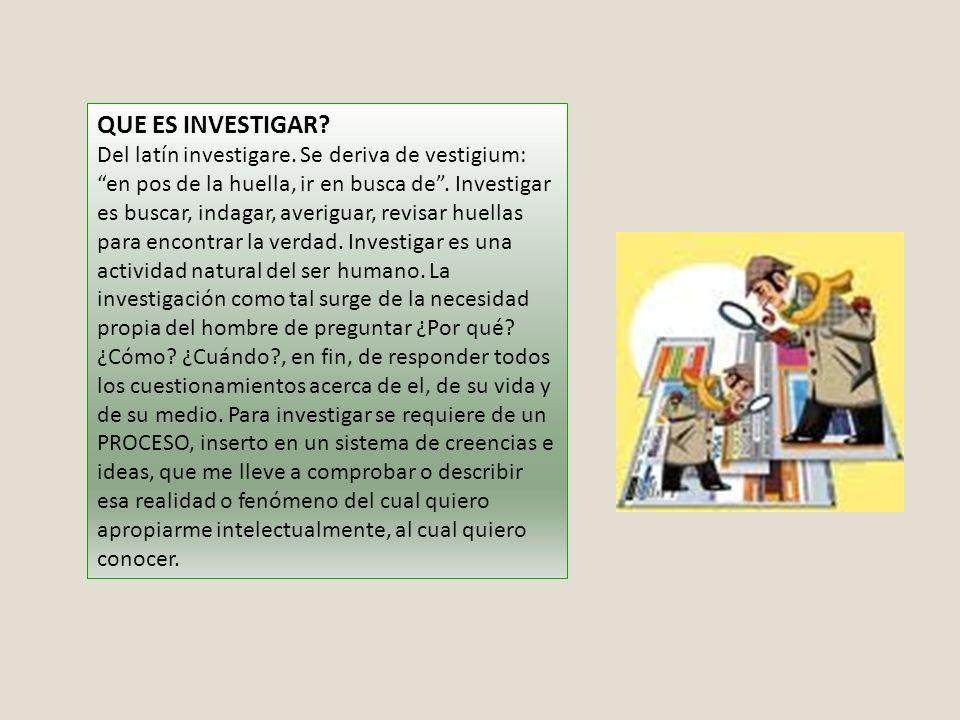QUE ES INVESTIGAR? Del latín investigare. Se deriva de vestigium: en pos de la huella, ir en busca de. Investigar es buscar, indagar, averiguar, revis