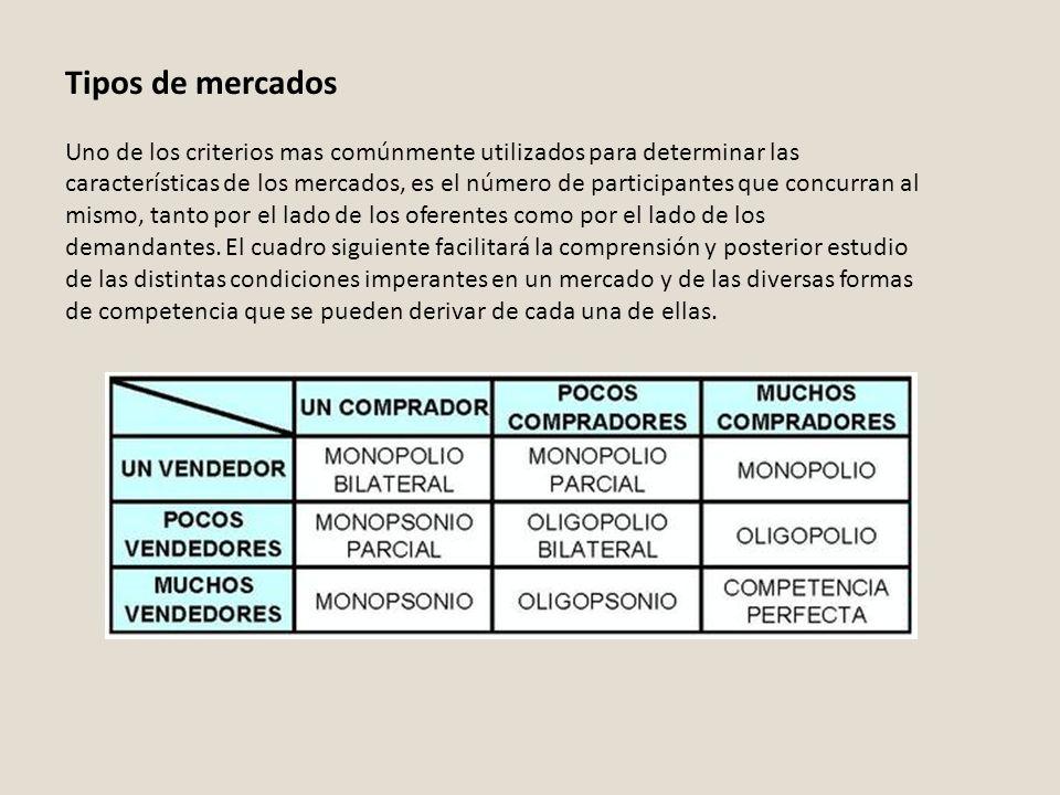 Tipos de mercados Uno de los criterios mas comúnmente utilizados para determinar las características de los mercados, es el número de participantes qu