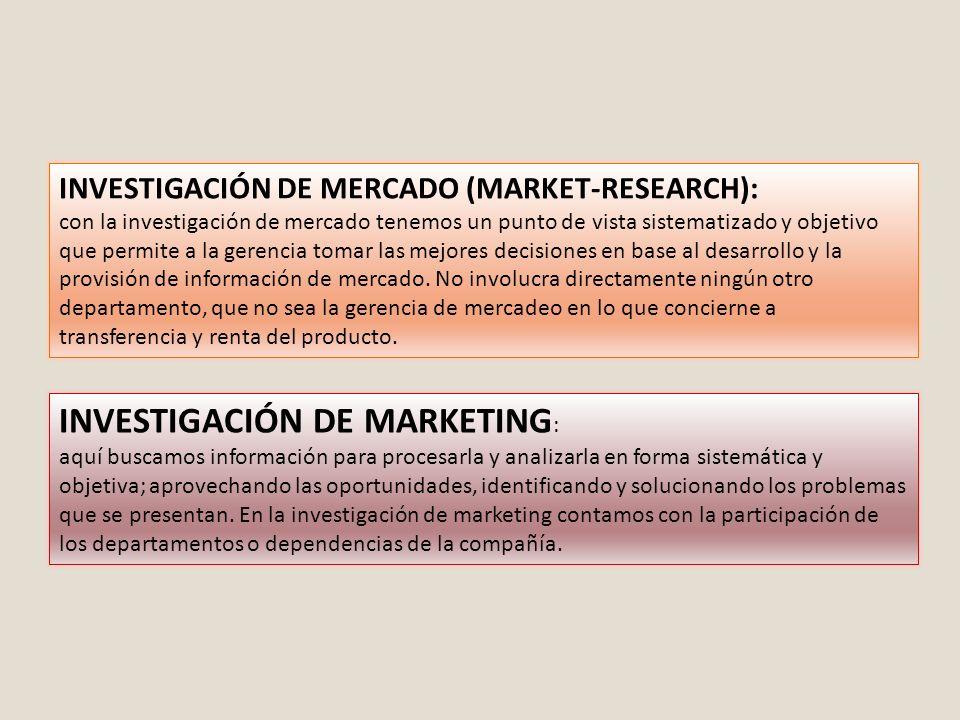 INVESTIGACIÓN DE MERCADO (MARKET-RESEARCH): con la investigación de mercado tenemos un punto de vista sistematizado y objetivo que permite a la gerenc
