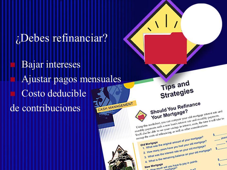 Derechos Reservados©SUAGM.2007 Compra de Propiedad Deducir contribuciones de la propiedad Deducir intereses de la hipoteca Crear equidad Pagos nivelados