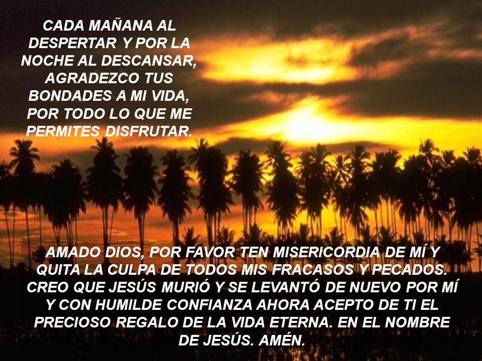 CADA MAÑANA AL DESPERTAR Y POR LA NOCHE AL DESCANSAR, AGRADEZCO TUS BONDADES A MI VIDA, POR TODO LO QUE ME PERMITES DISFRUTAR.