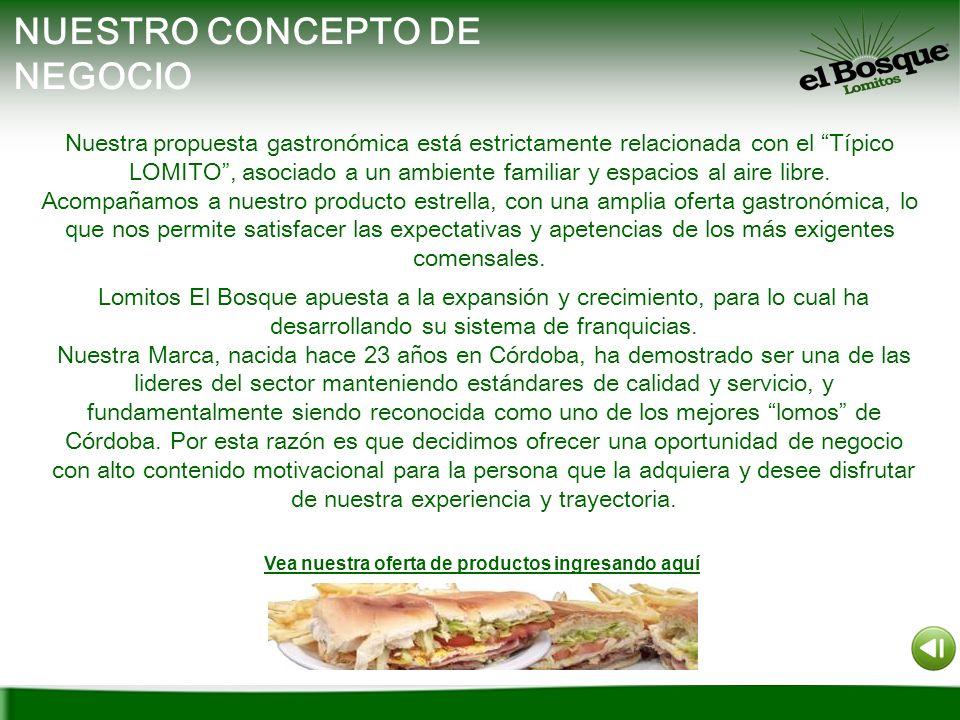 NUESTRO CONCEPTO DE NEGOCIO Nuestra propuesta gastronómica está estrictamente relacionada con el Típico LOMITO, asociado a un ambiente familiar y espa