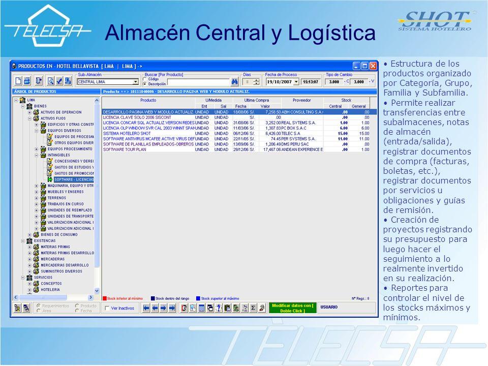 Almacén Central y Logística Estructura de los productos organizado por Categoría, Grupo, Familia y Subfamilia.