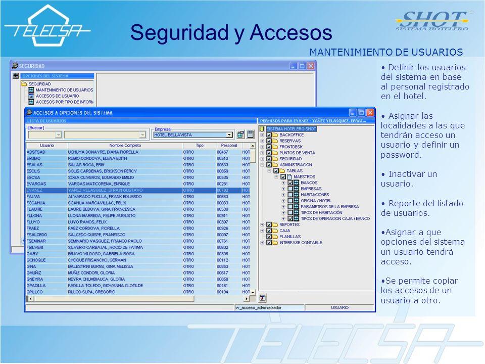 MANTENIMIENTO DE USUARIOS Seguridad y Accesos Definir los usuarios del sistema en base al personal registrado en el hotel.