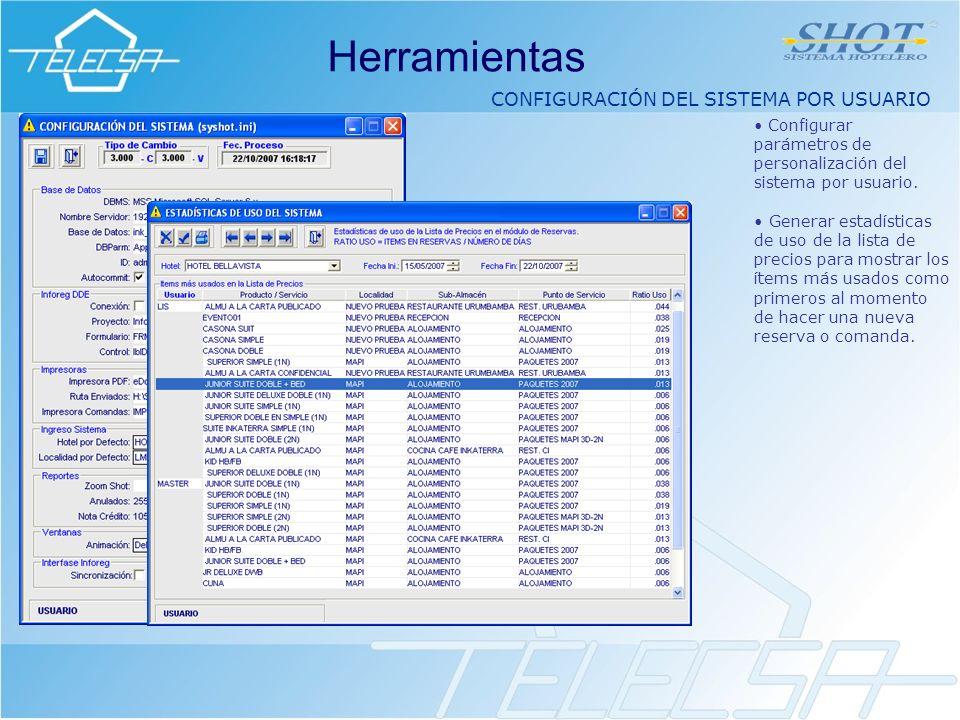 CONFIGURACIÓN DEL SISTEMA POR USUARIO Herramientas Configurar parámetros de personalización del sistema por usuario.