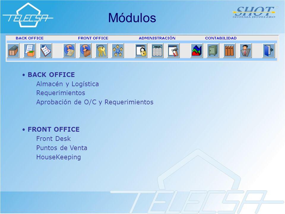 BACK OFFICE Almacén y Logística Requerimientos Aprobación de O/C y Requerimientos FRONT OFFICE Front Desk Puntos de Venta HouseKeeping Módulos