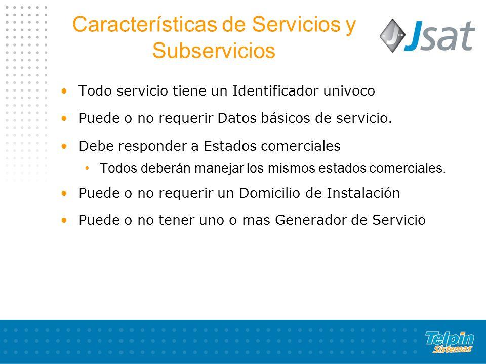 Características de Servicios y Subservicios Todo servicio tiene un Identificador univoco Puede o no requerir Datos básicos de servicio.