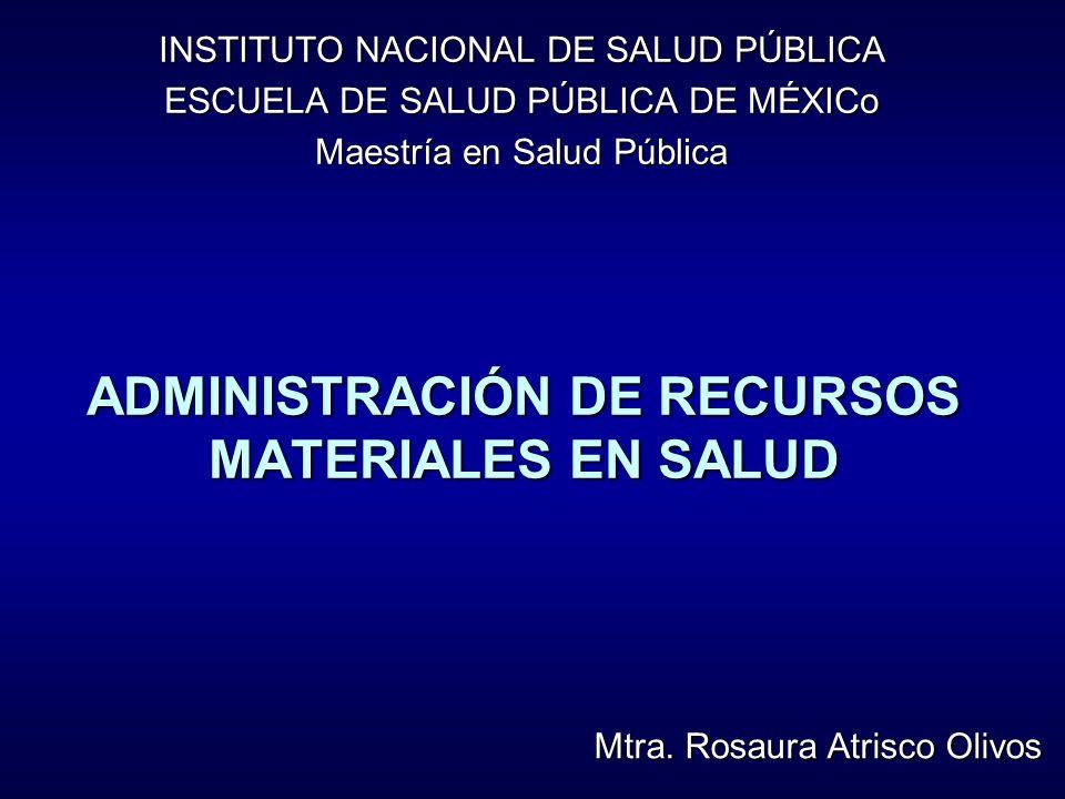 ADMINISTRACIÓN DE RECURSOS MATERIALES EN SALUD INSTITUTO NACIONAL DE SALUD PÚBLICA ESCUELA DE SALUD PÚBLICA DE MÉXICo Maestría en Salud Pública Mtra.