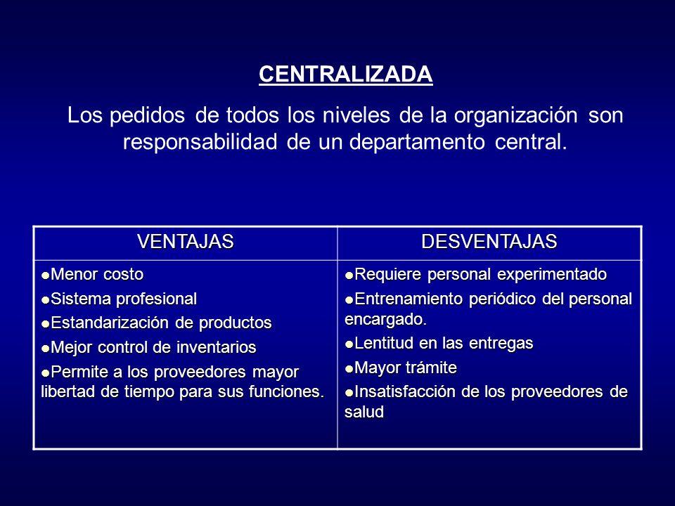 CENTRALIZADA Los pedidos de todos los niveles de la organización son responsabilidad de un departamento central.