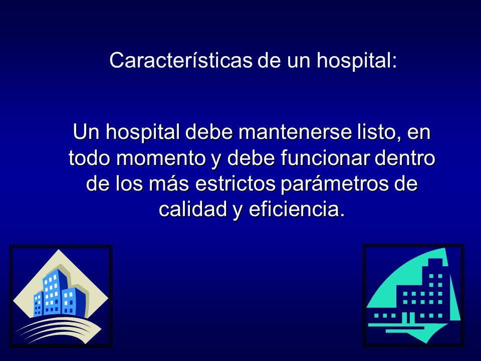 Un hospital debe mantenerse listo, en todo momento y debe funcionar dentro de los más estrictos parámetros de calidad y eficiencia.