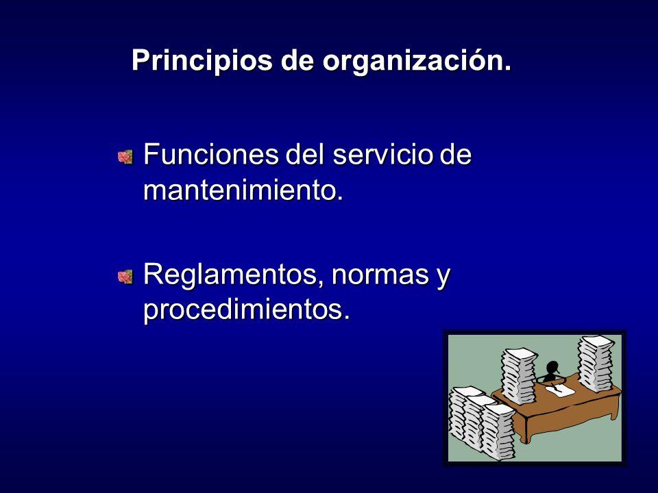 Funciones del servicio de mantenimiento.Reglamentos, normas y procedimientos.