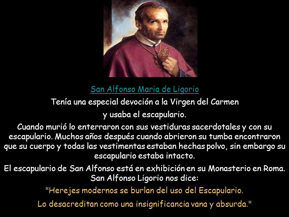 El mismo día que San Simón Stock recibió de María el escapulario y la promesa, el fue llamado a asistir a un moribundo que estaba desesperado. Cuando