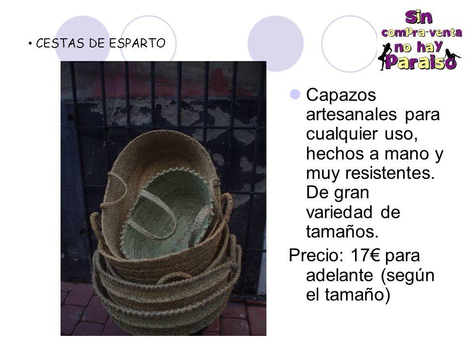 CESTAS DE ESPARTO Capazos artesanales para cualquier uso, hechos a mano y muy resistentes.