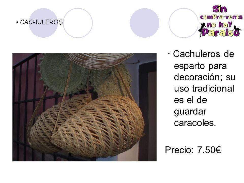 CACHULEROS · Cachuleros de esparto para decoración; su uso tradicional es el de guardar caracoles.