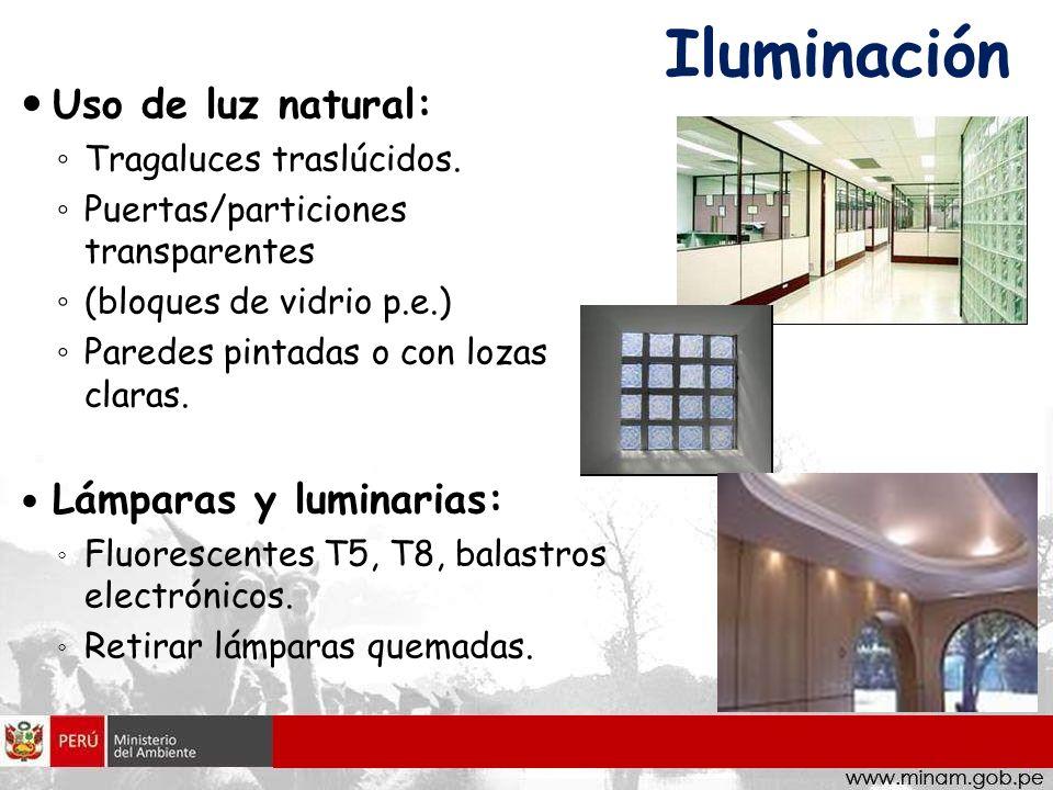 Iluminación Uso de luz natural: Tragaluces traslúcidos. Puertas/particiones transparentes (bloques de vidrio p.e.) Paredes pintadas o con lozas claras