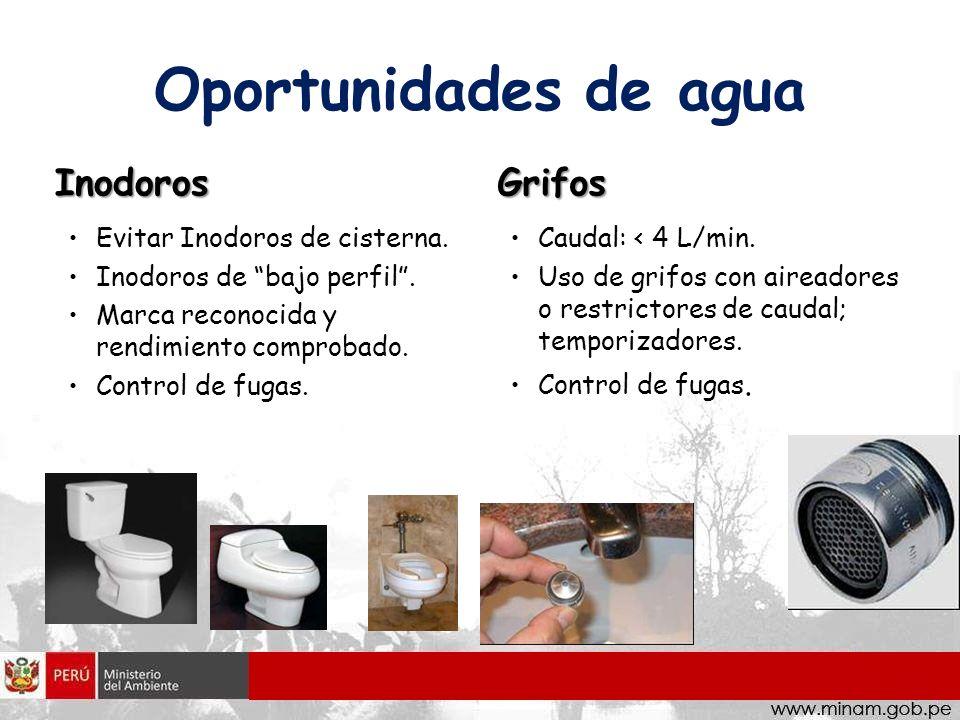 Oportunidades de agua Inodoros Evitar Inodoros de cisterna. Inodoros de bajo perfil. Marca reconocida y rendimiento comprobado. Control de fugas. Grif