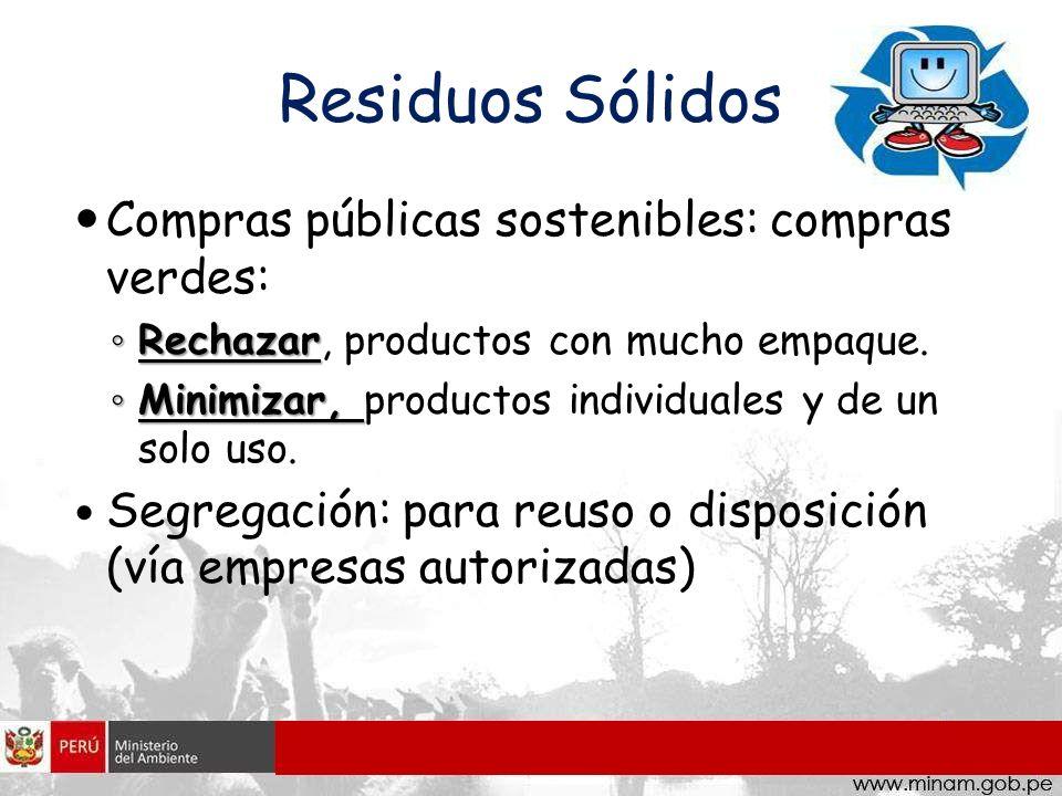 Residuos Sólidos Compras públicas sostenibles: compras verdes: Rechazar Rechazar, productos con mucho empaque. Minimizar, Minimizar, productos individ
