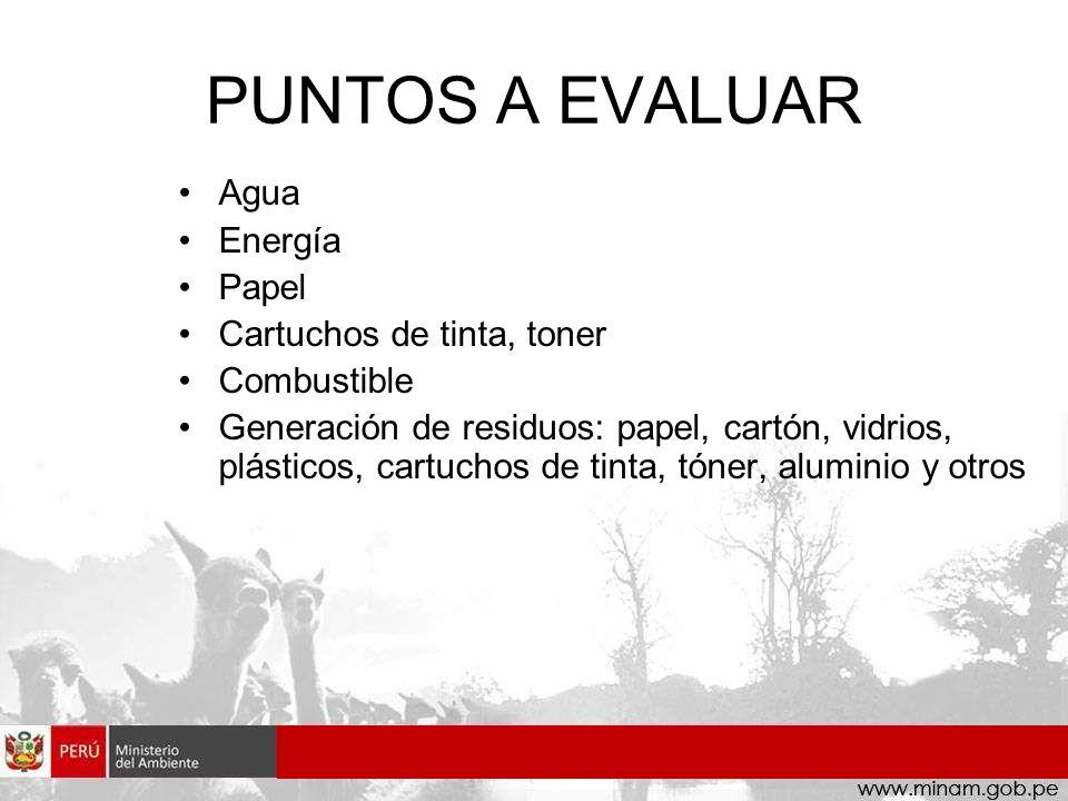 PUNTOS A EVALUAR Agua Energía Papel Cartuchos de tinta, toner Combustible Generación de residuos: papel, cartón, vidrios, plásticos, cartuchos de tint