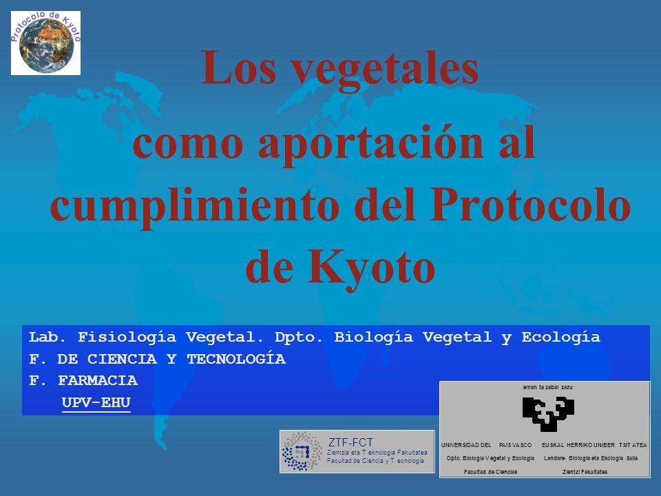 Los vegetales como aportación al cumplimiento del Protocolo de Kyoto Lab.
