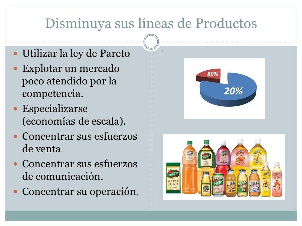 Disminuya sus líneas de Productos Utilizar la ley de Pareto Explotar un mercado poco atendido por la competencia. Especializarse (economías de escala)